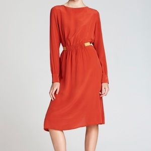 Thakoon Addition Silk Wing Back Dress Brick Red
